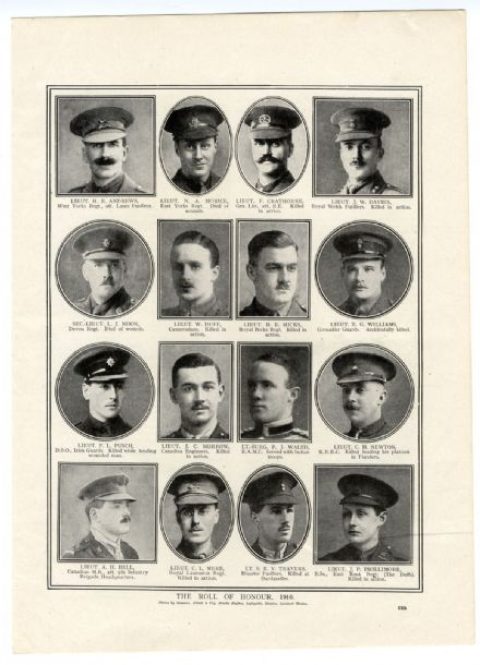 1916 WW1 Print ROLL OF HONOUR Basil Perrin Hicks NORMAN MORICE F. Pusch LEONARD MOON Cricketer